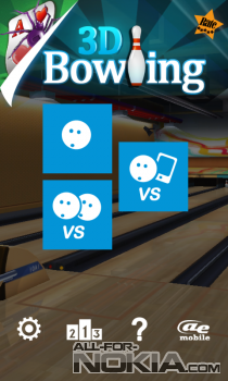 AE Bowling 3D для windows Phone - Главное меню