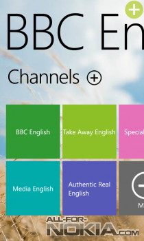 BBC English для Windows Phone: Выбор канала