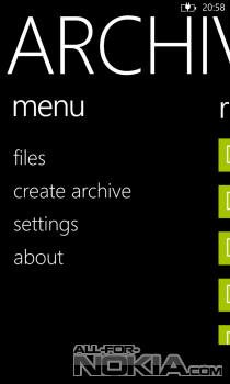 Archiver для Windows Phone: Главное меню