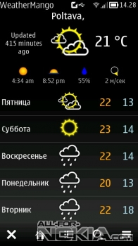 Погода WeatherMango в для Symbian Anna