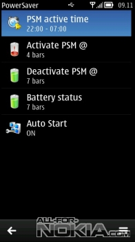 Интерефейс Power Saver для Symbian Belle