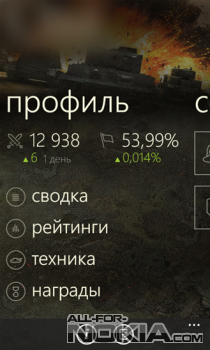 Assistant for World of Tanks - личный профиль